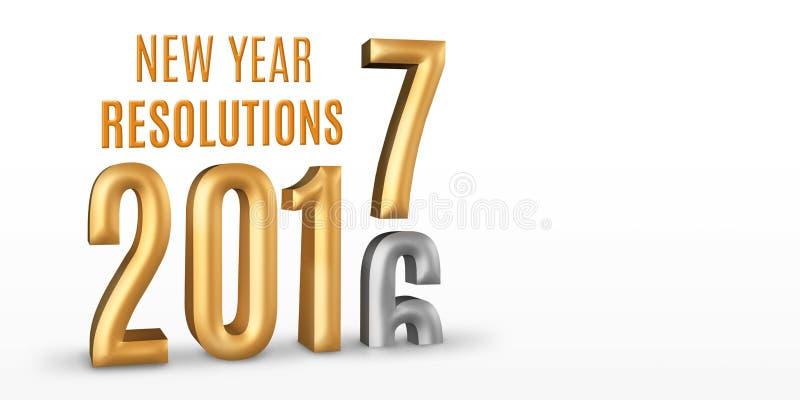 新年决议2016年金子数字年变动到2017新的ye 皇族释放例证