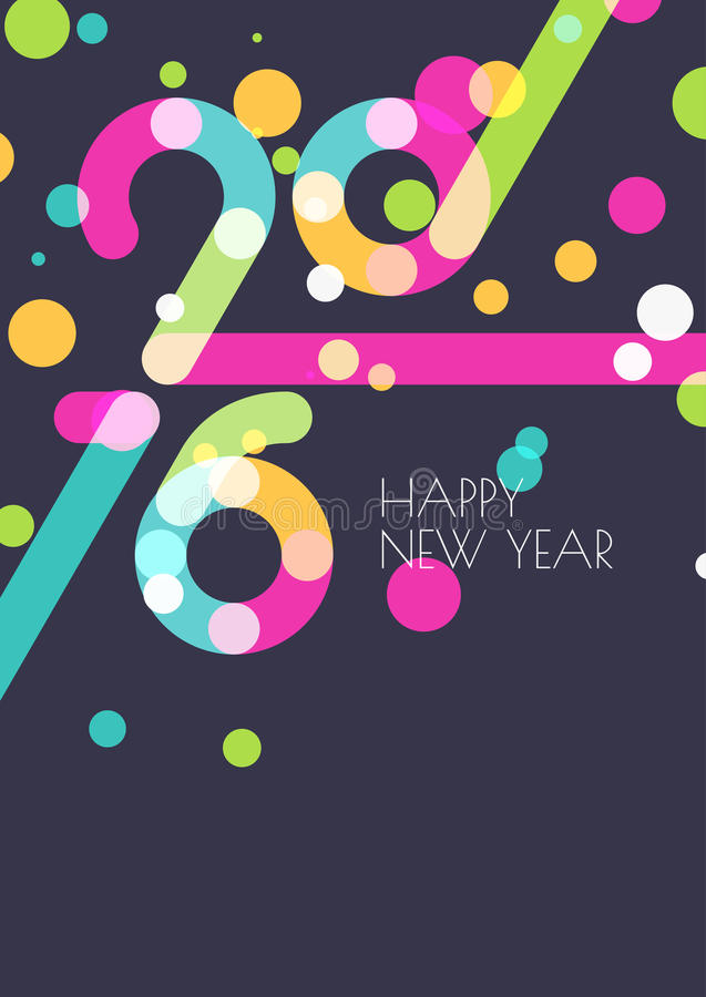 新年2016创造性的贺卡 抽象五颜六色的五彩纸屑 库存例证