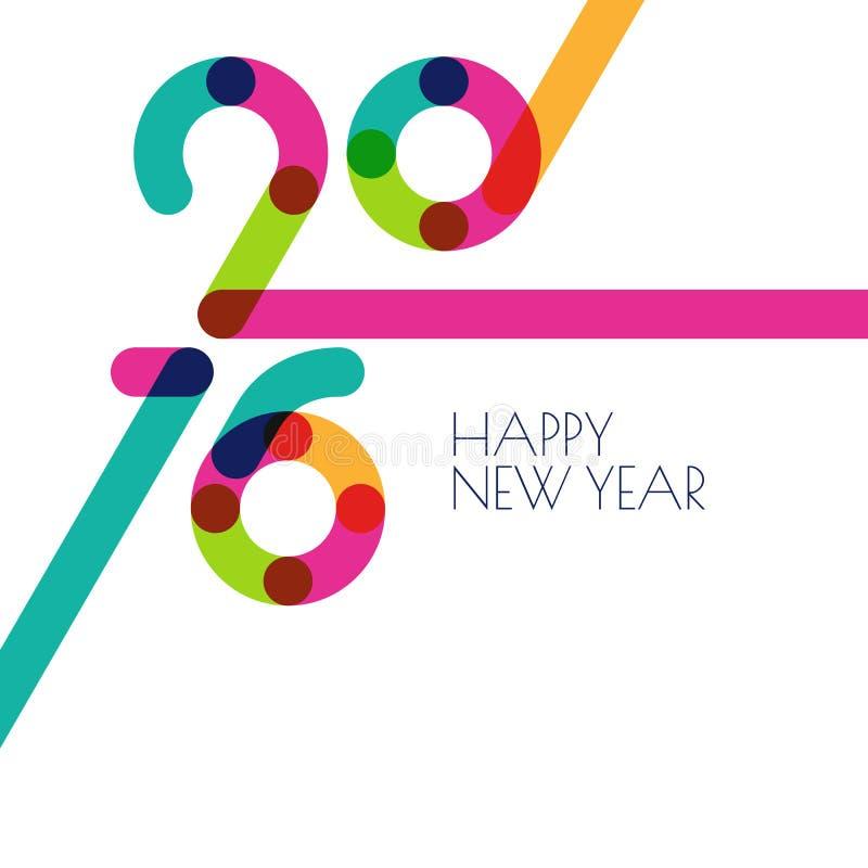 新年2016创造性的贺卡 抽象五颜六色的假日 库存例证