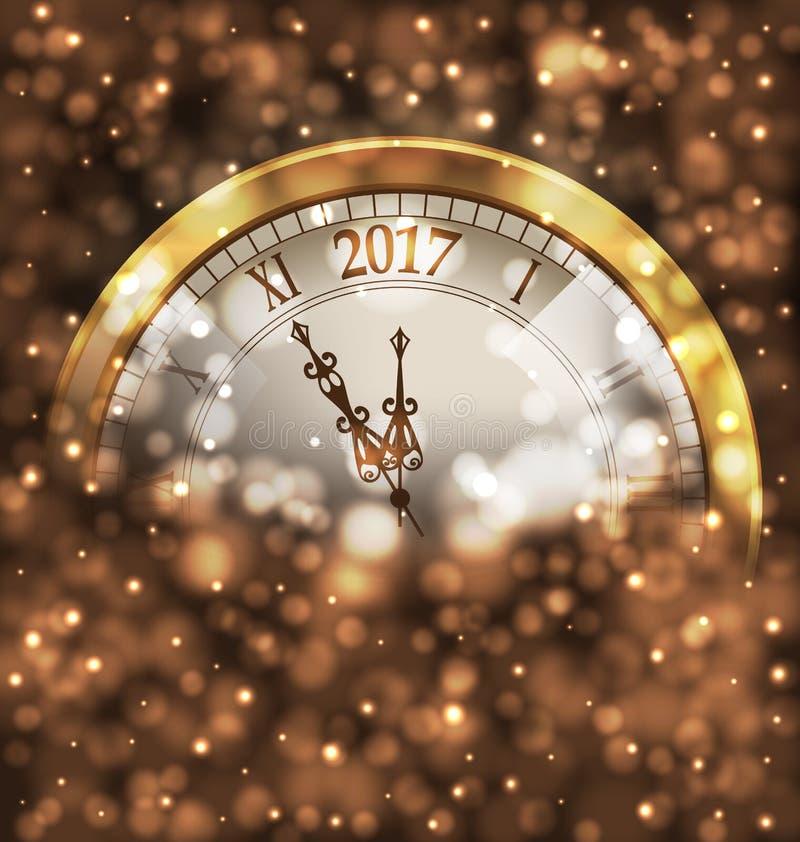 2017新年午夜,与时钟的发光的背景 皇族释放例证