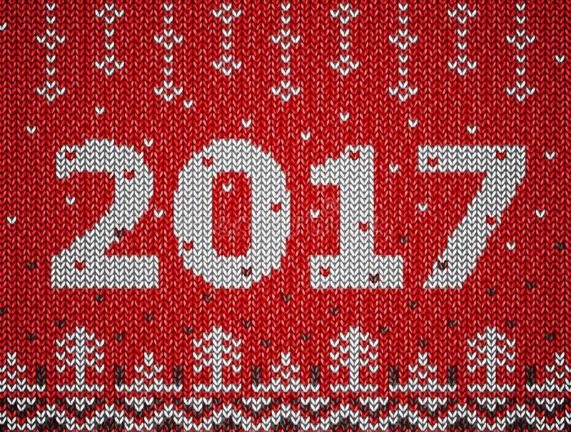 新年卡片与被编织的纹理的2017年 皇族释放例证