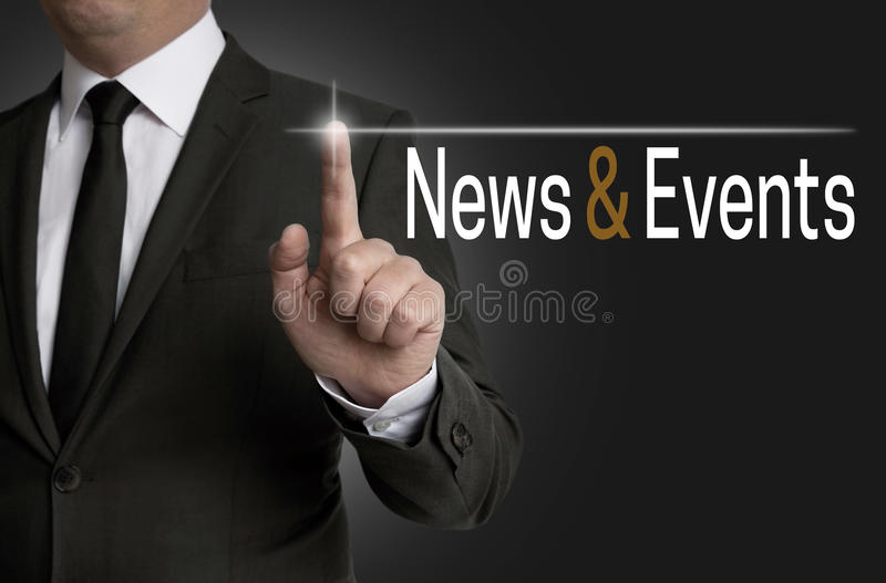 新闻和事件触摸屏幕由商人管理 图库摄影