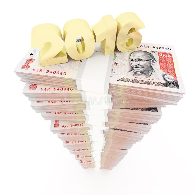 新年2016年和印度卢比堆 库存例证