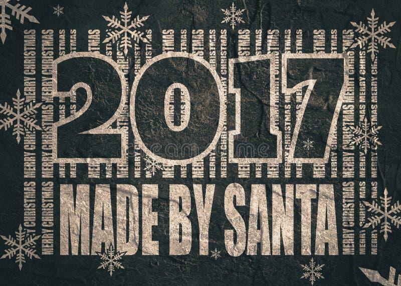 新年和圣诞节庆祝卡片 做由圣诞老人文本 皇族释放例证