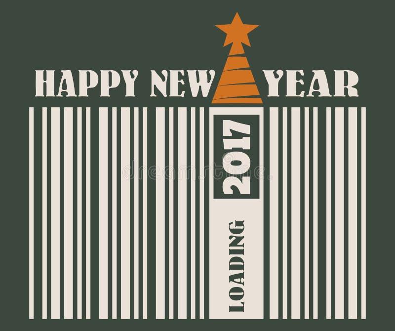 新年和圣诞节庆祝卡片 愉快的新的文本年 库存例证