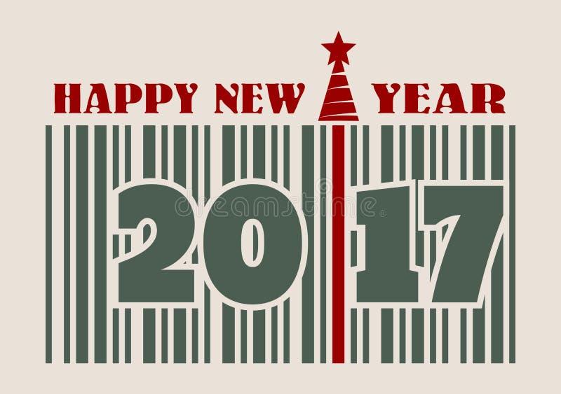 新年和圣诞节庆祝卡片 愉快的新的文本年 皇族释放例证