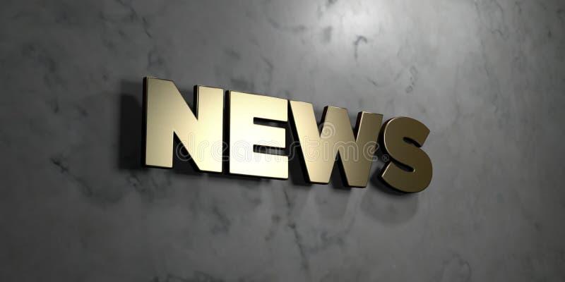 新闻-在光滑的大理石墙壁登上的金标志- 3D回报了皇族自由储蓄例证 向量例证