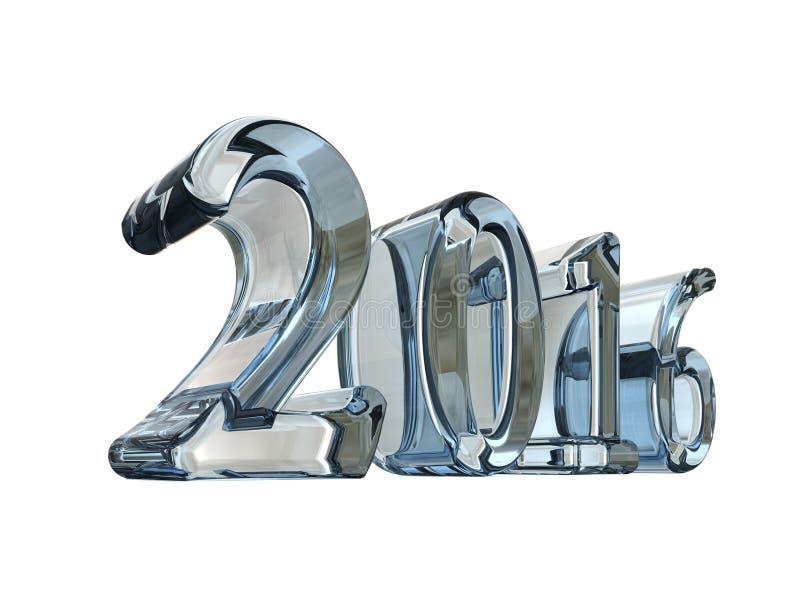 新年在白色隔绝的玻璃2016 3d文本 向量例证