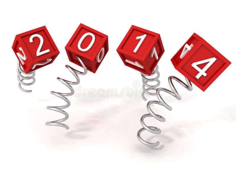 新年在金属螺旋弹簧的红色2014立方体 皇族释放例证
