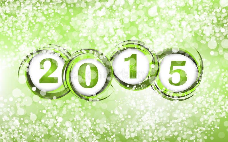 新年2015年在绿色背景中 皇族释放例证