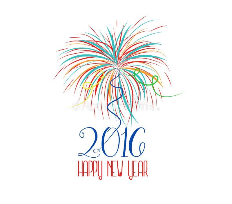 新年好烟花2016个假日背景设计 向量例证