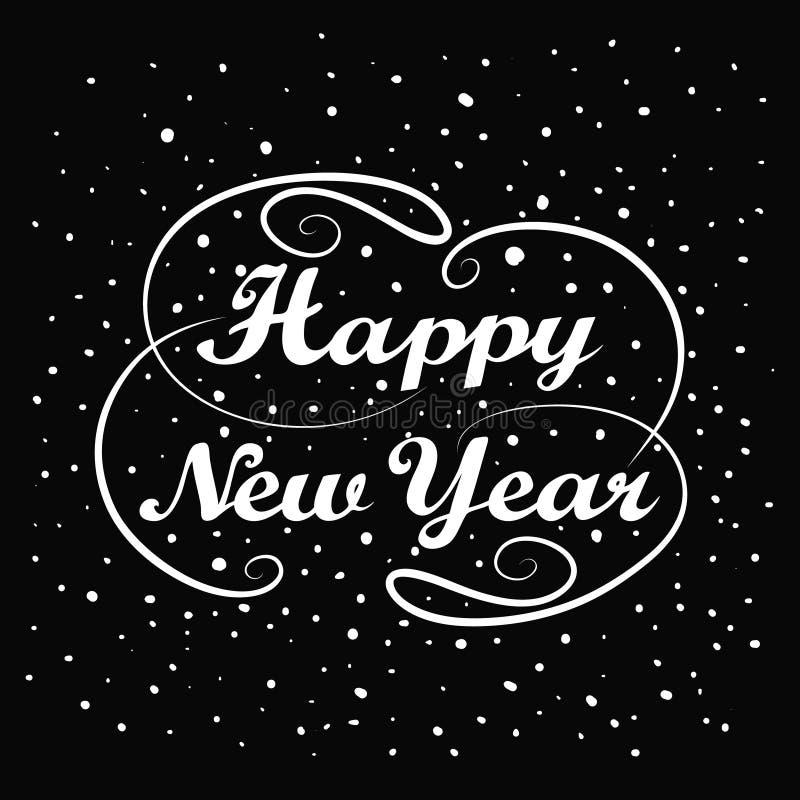 新年好现有量字法 手工制造书法假日贺卡设计 葡萄酒手写消息 抽象背景 向量例证