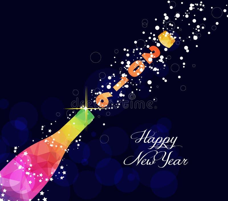 新年好2016年与五颜六色的三角香槟爆炸的贺卡或海报设计 皇族释放例证