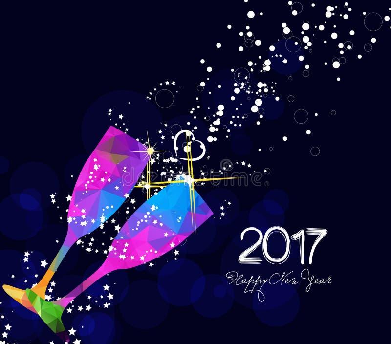 新年好2017年与五颜六色的三角玻璃的贺卡或海报设计 皇族释放例证