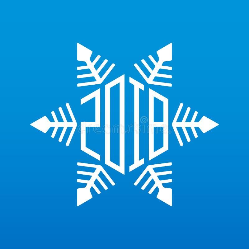 新年好2018年 与新年dat的原始的传染媒介雪花 库存例证