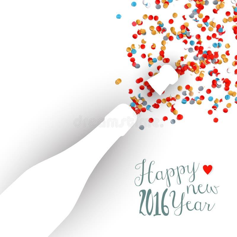 新年好2016年五彩纸屑庆祝香槟 向量例证