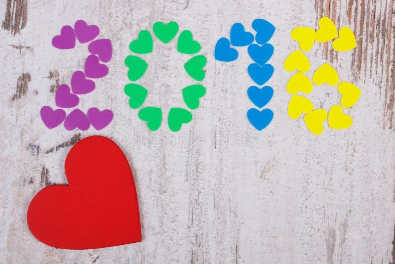 新年好2016做了五颜六色的心脏,文本的拷贝空间 库存图片