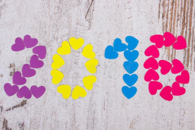 新年好2016做了五颜六色的心脏 库存图片