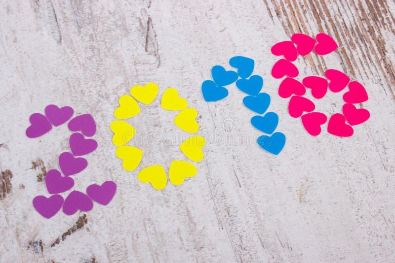 新年好2016做了五颜六色的心脏 免版税库存照片