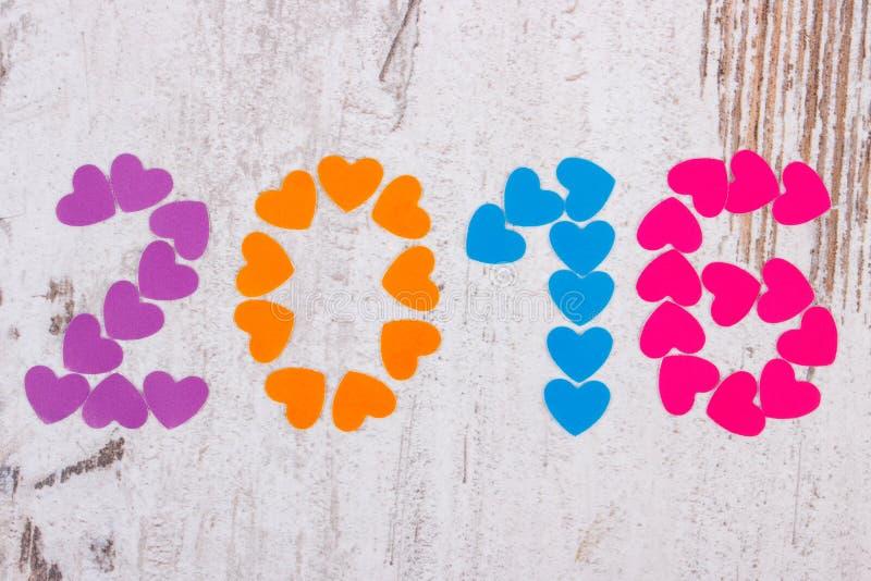 新年好2016做了五颜六色的心脏 库存照片