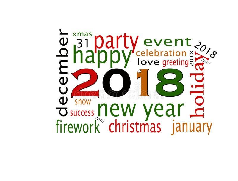 新年好2018年贺卡 库存例证