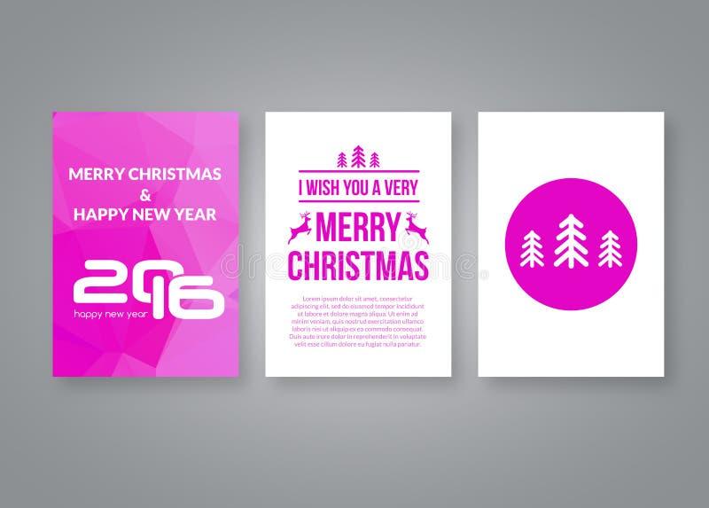 新年好2016年和与数字的圣诞快乐传染媒介桃红色现代小册子设计模板 套明信片 皇族释放例证