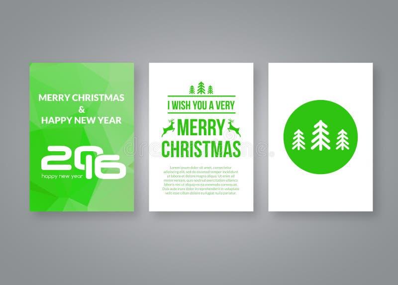新年好2016年和与数字的圣诞快乐传染媒介绿色现代小册子设计模板 套明信片 库存例证