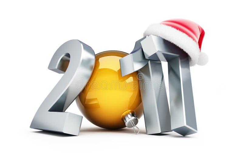 新年好2016年圣诞老人帽子3d例证 库存例证