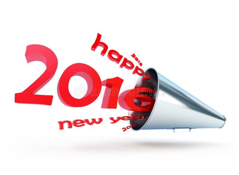 新年好2016年扩音机 库存例证