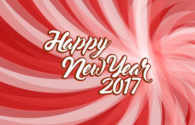 新年好2017红色波浪例证 向量例证