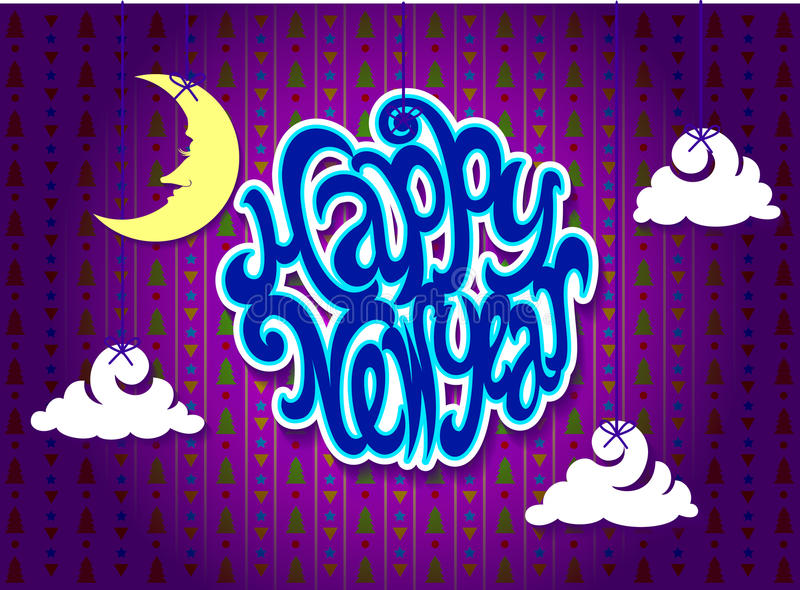 Download 新年好 向量例证. 插画 包括有 云彩, 结构树, 影子, 数据条, 月亮, 背包, 休眠, 星形, 三角 - 62526408