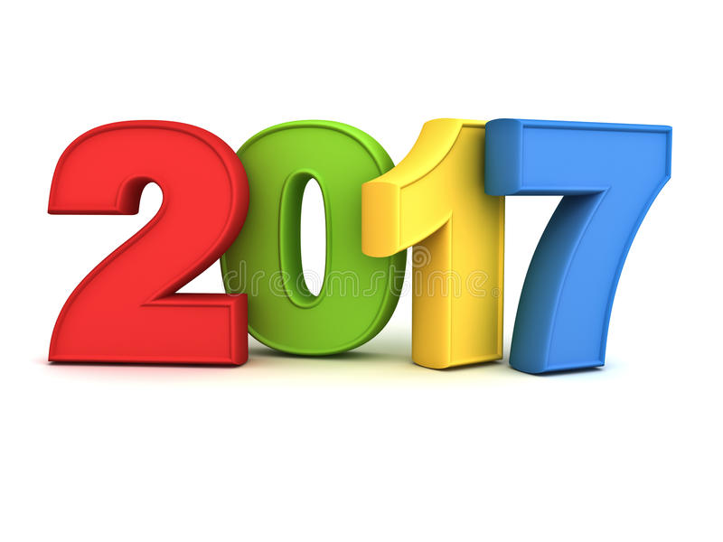 新年好2017 3D五颜六色的文本被隔绝在与反射和阴影的白色背景 库存例证