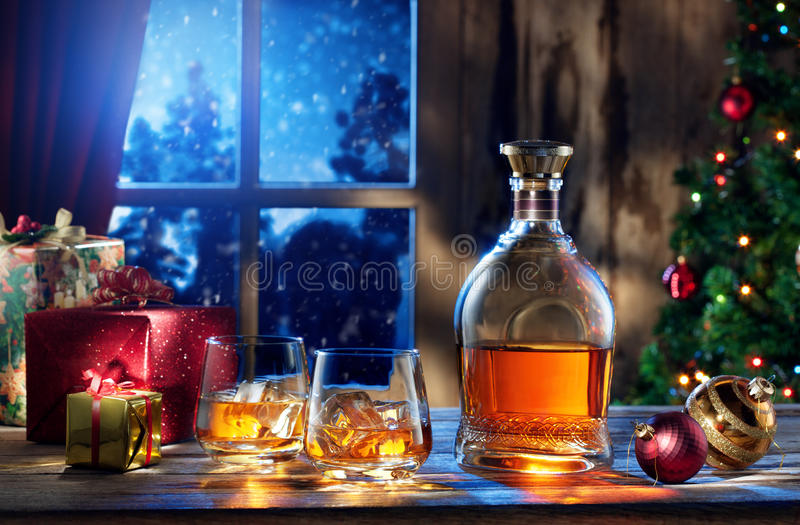 新年威士忌酒 图库摄影