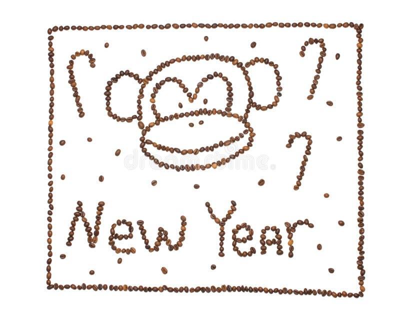 新年猴子2016年概念由咖啡豆制成 免版税库存图片