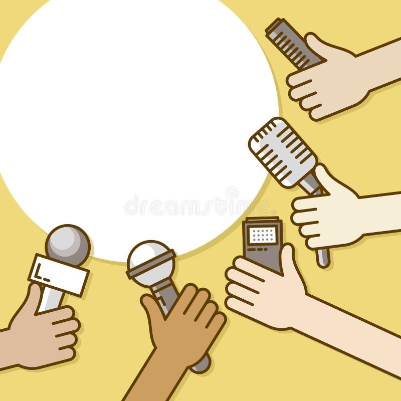 新闻工作者的少量手有话筒、录音机和智能手机的 新闻事业、现场报告或者最新新闻,电视 向量例证
