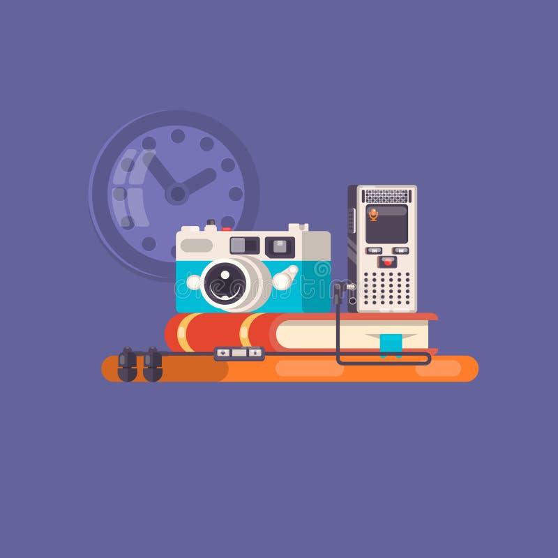 新闻工作者,无固定职业的摄影师行业 与工具和设备的新闻工作者工作区 平的例证 皇族释放例证