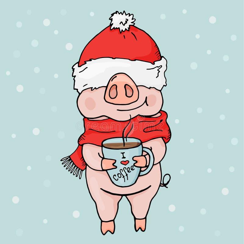 新2019年 中国猪年 与一头滑稽的猪的一张明信片在圣诞老人` s帽子和