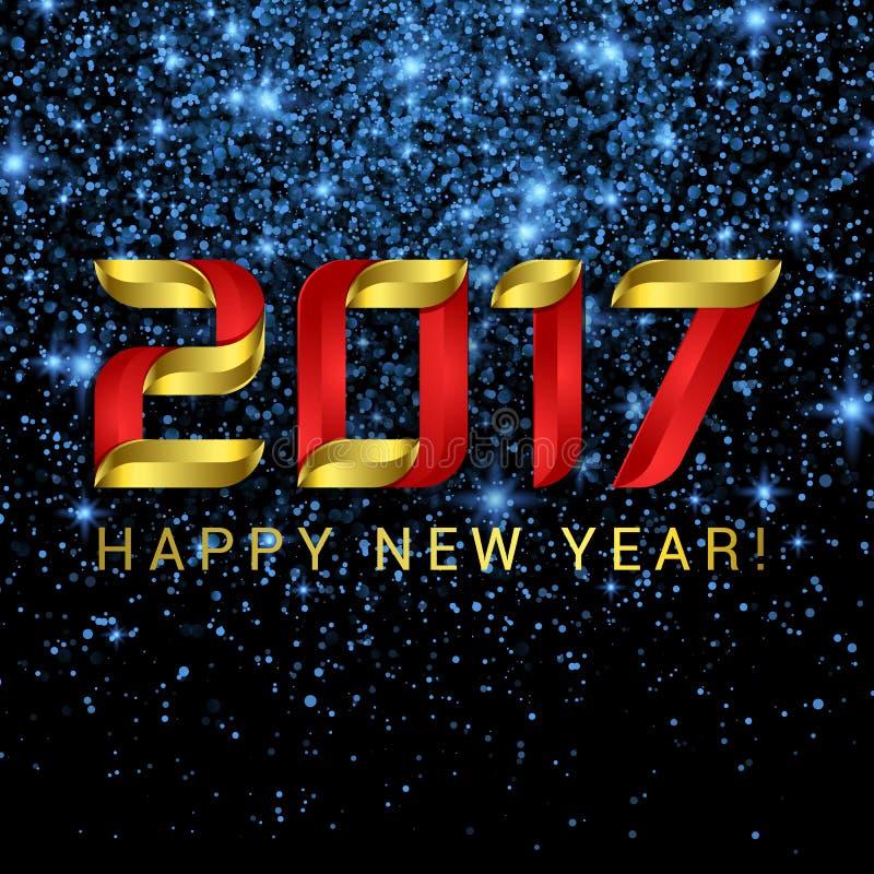 2017年新年快乐与蓝星和光的贺卡 库存例证