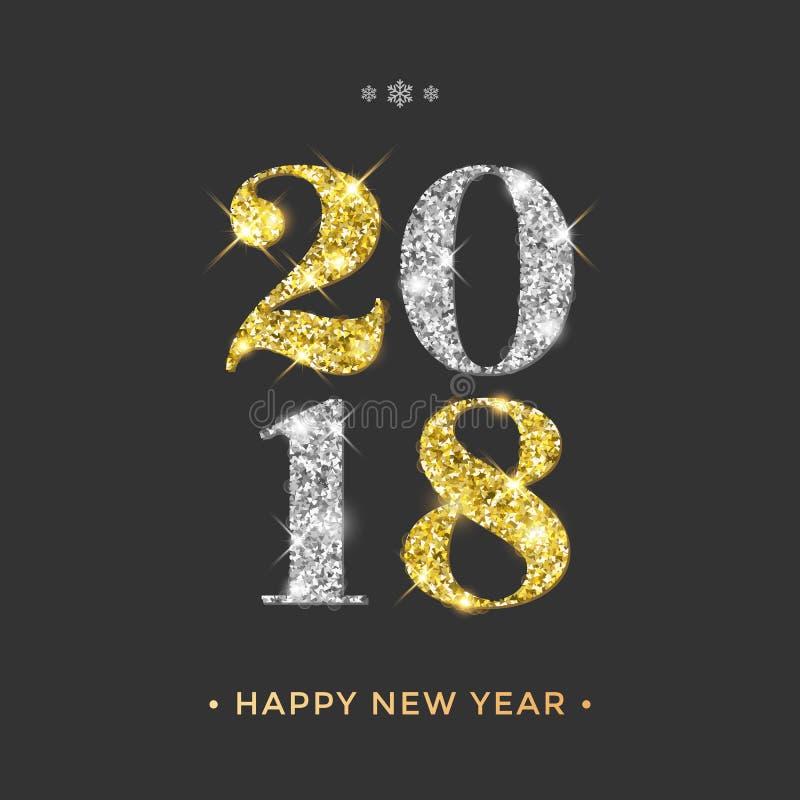 2018年新年快乐与金子和银闪烁的传染媒介背景编号 向量例证