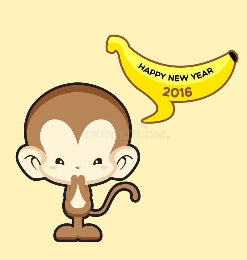 新年快乐与说逗人喜爱的猴子的贺卡新年快乐2016年 皇族释放例证