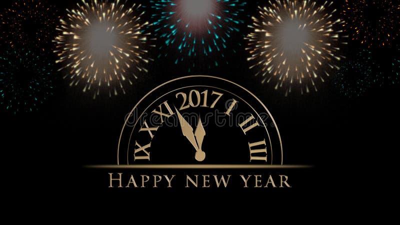 2017年新年快乐例证,与时钟,烟花,在黑背景的文本的卡片 库存例证