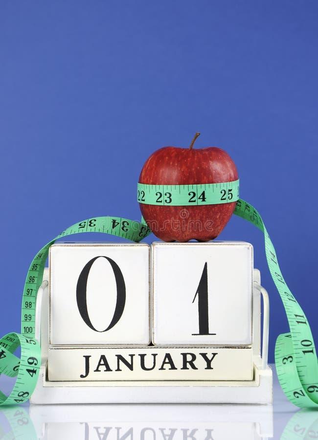 新年快乐健康减肥的减重或身体好决议 免版税库存照片