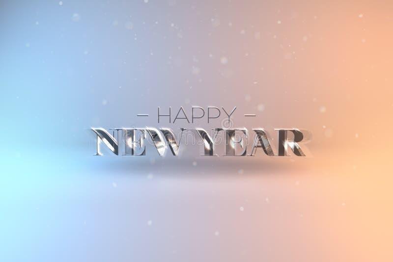 新年快乐卡片的典雅的与发光的Te的模板或横幅 库存图片