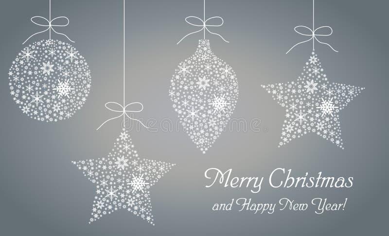 新年快乐和圣诞快乐贺卡,海报,邀请,飞行物 也corel凹道例证向量 库存例证