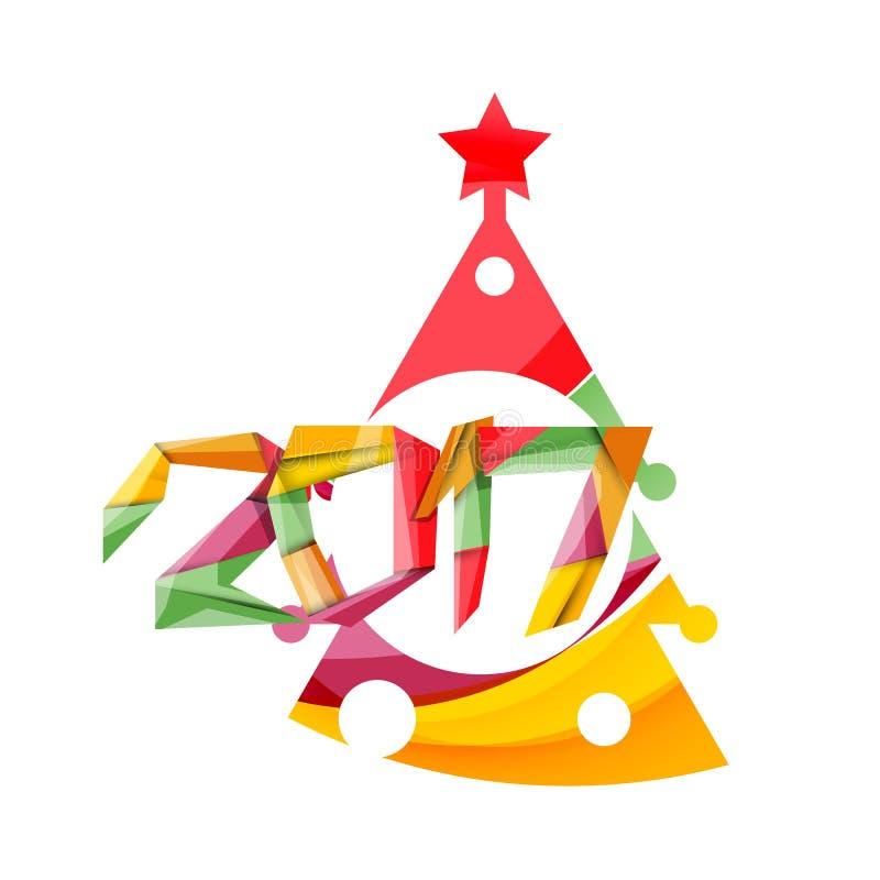 新年快乐和Chrismas假日贺卡元素 库存例证