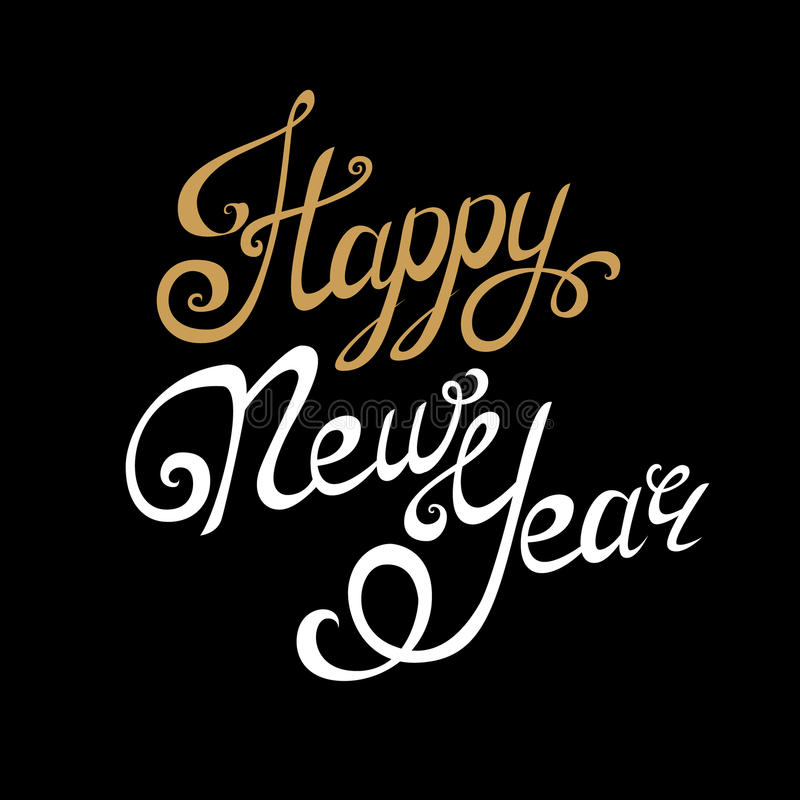 新年快乐字法,手工制造书法 假日传染媒介例证 皇族释放例证