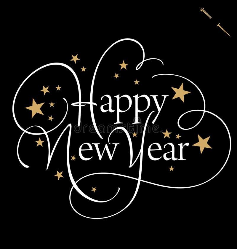 新年快乐手字法(传染媒介) 库存例证