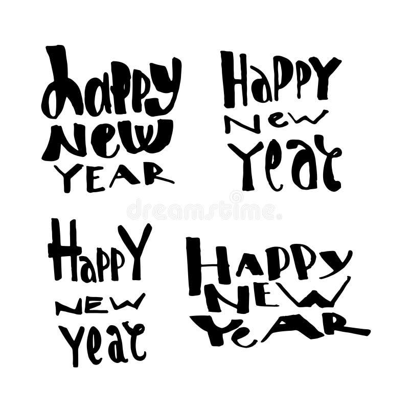 新年快乐手拉的书信设计集合 也corel凹道例证向量 印刷术元素 免版税库存照片