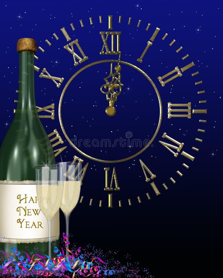 新年快乐时钟 库存例证