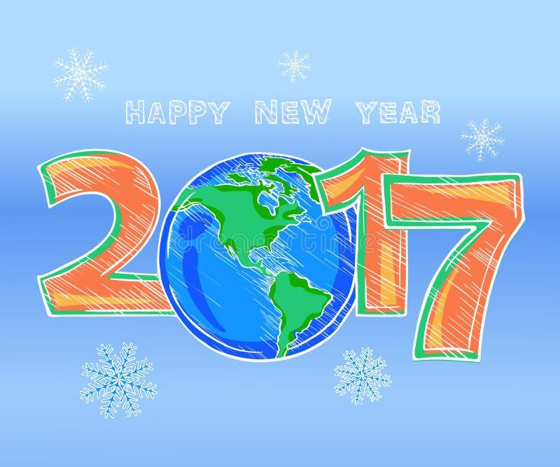 新年快乐概述颜色图片剪影 向量例证